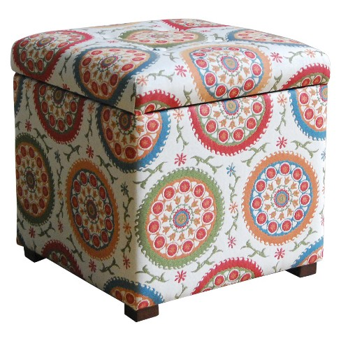 Phenomenal Storage Ottoman Medallion Print Homepop Alphanode Cool Chair Designs And Ideas Alphanodeonline