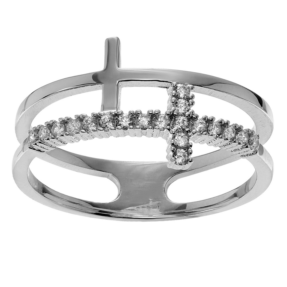 1/5 CT. T.W. Round-cut Cubic Zirconia Double Cross Pave Set Ring in Sterling Silver - Silver, 9, Girl's