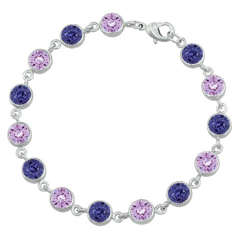 Women's Silver Plated Round Bracelet with Crystals from Swarovski - Purple (6mm) - image 1 of 1