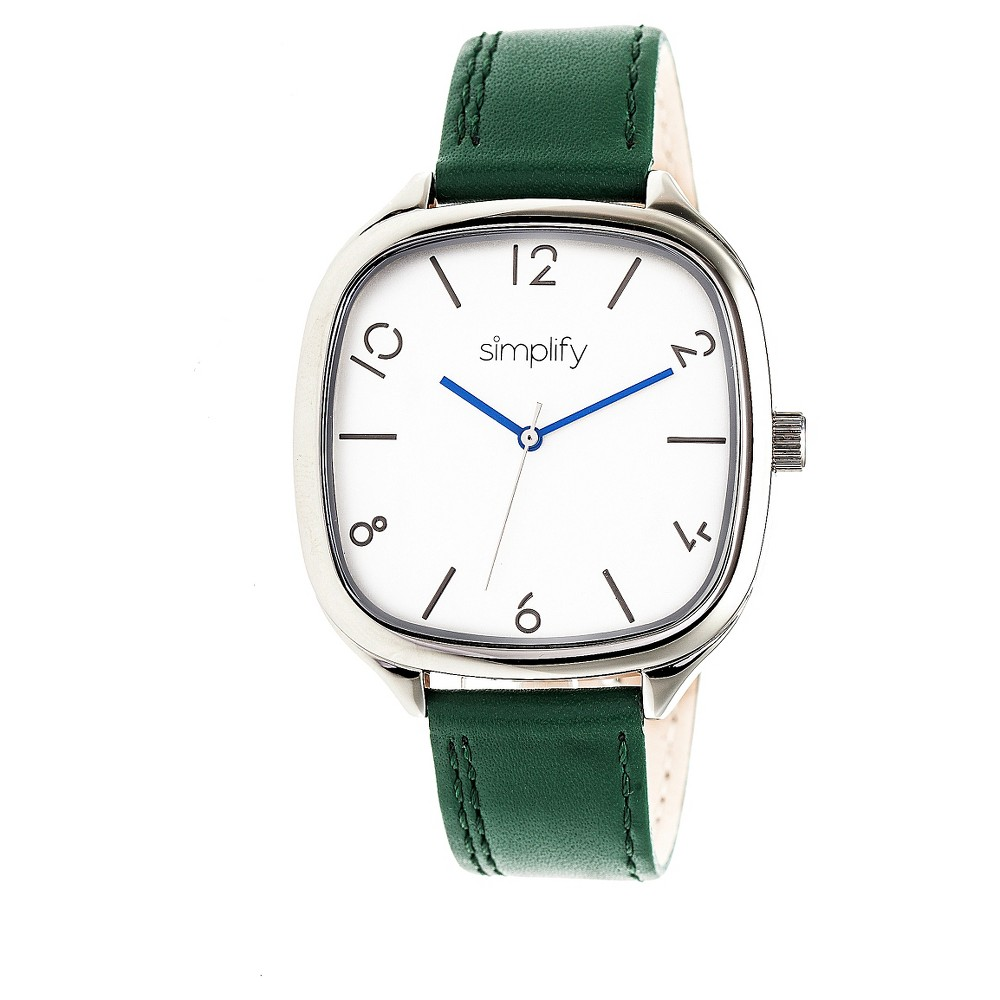 Simplify The 3500 Men's Leather-Band Watch - Silver/Forest Green