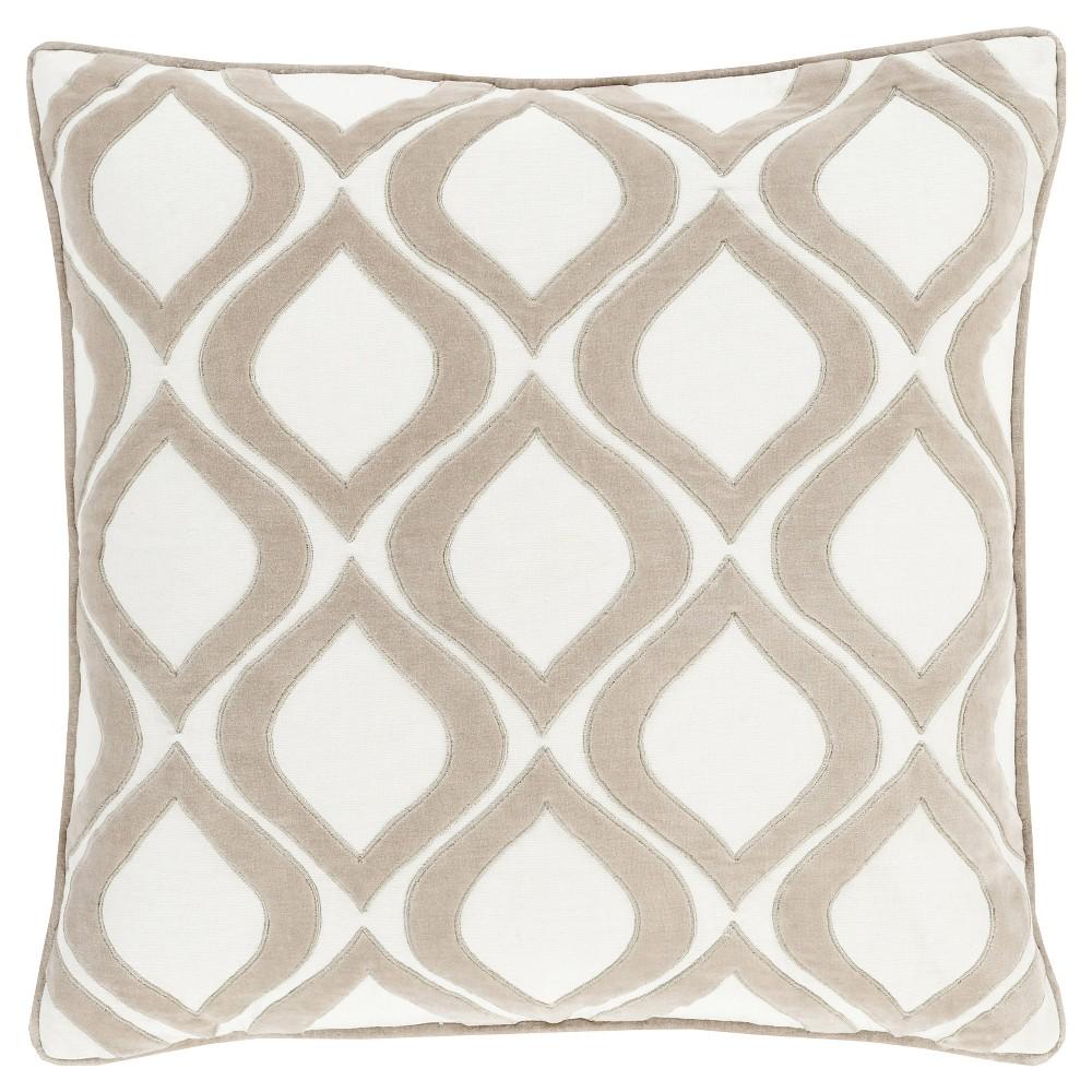 Ivory Velvet Ogee Throw Pillow 18