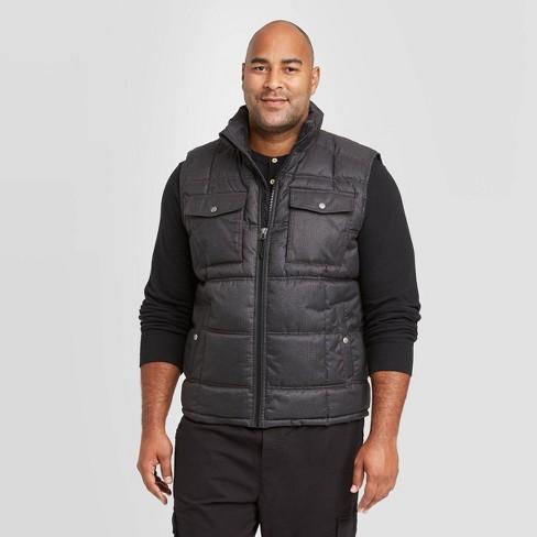 Men's Big & Tall Fullzip Midweight Puffer Vest - Goodfellow & Co™ Dark Gray - image 1 of 4