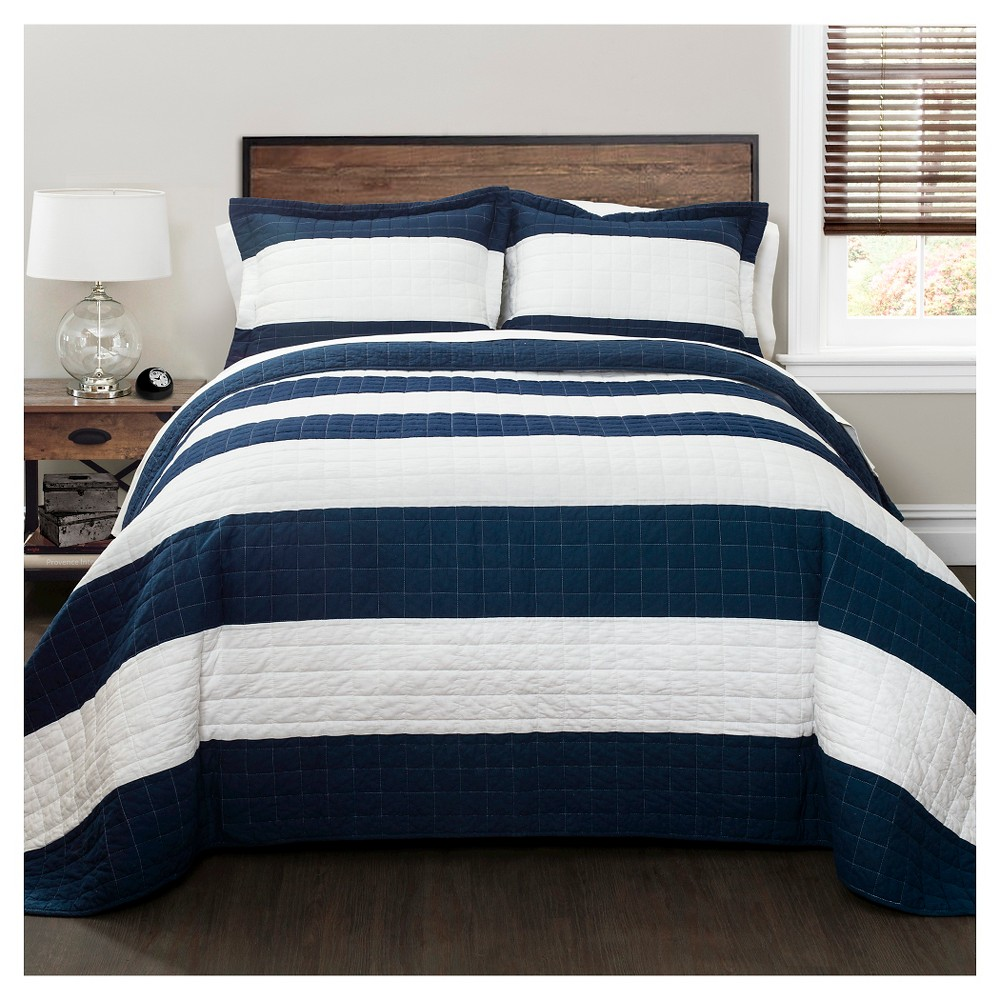 Stripe Quilt 3 Piece Set (Full/Queen) Navy/White - Lush Décor, Blue