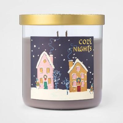 15.1oz Lidded Glass Jar 2-Wick Candle Cozy Nights Snow Scene - Opalhouse™
