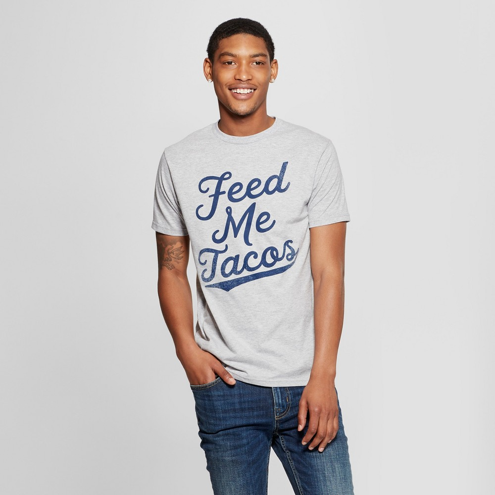 Men's Short Sleeve Feed Me Tacos Graphic T-Shirt - Awake Heather Gray L