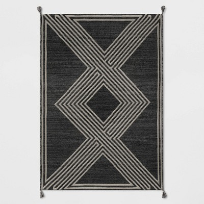 Tasseled Outdoor Rug Charcoal - Project 62™