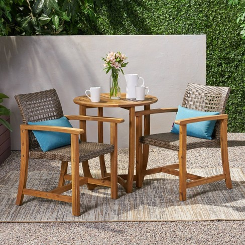 Doral 3pc Acacia Wood Dining Set Teak - Christopher Knight Home - image 1 of 4