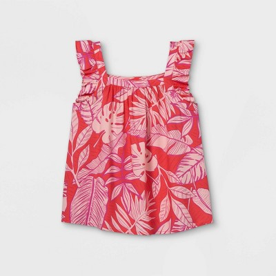 Girls' Printed Flutter Sleeve Woven Top - Cat & Jack™