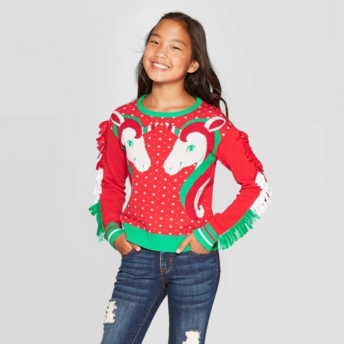 Dinosaur Christmas Sweater.Well Worn Girls Winter Unicorns Ugly Christmas Sweater Red