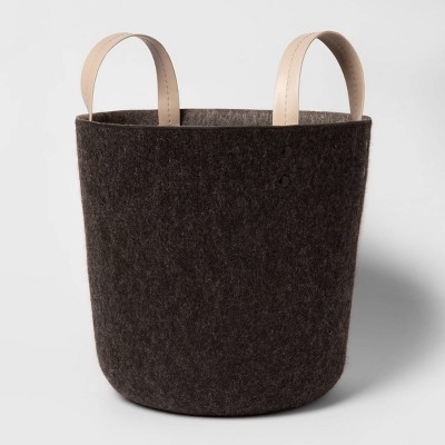 Large Decorative Felt Basket with Leather Handles 12.2 x12.6  - Project 62™