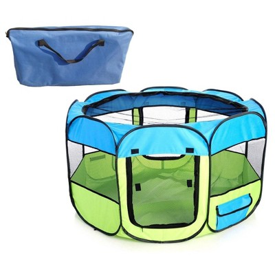 Pet Life All-Terrain Lightweight Easy Folding Wire-Framed Collapsible Travel Dog Playpen - Blue