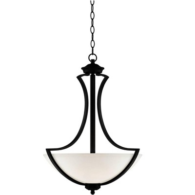 "Possini Euro Design Dark Bronze Pendant Chandelier 19 1/2"" Wide White Glass Bowl Shade 3-Light Fixture Dining Room House Kitchen"