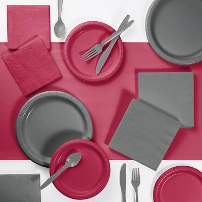 Decorative Party Supply Kit Gray/Burgundy