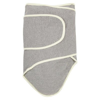 Miracle Blanket Solid Print with Trim Baby Swaddle - Cloud Gray/Pastel Yellow