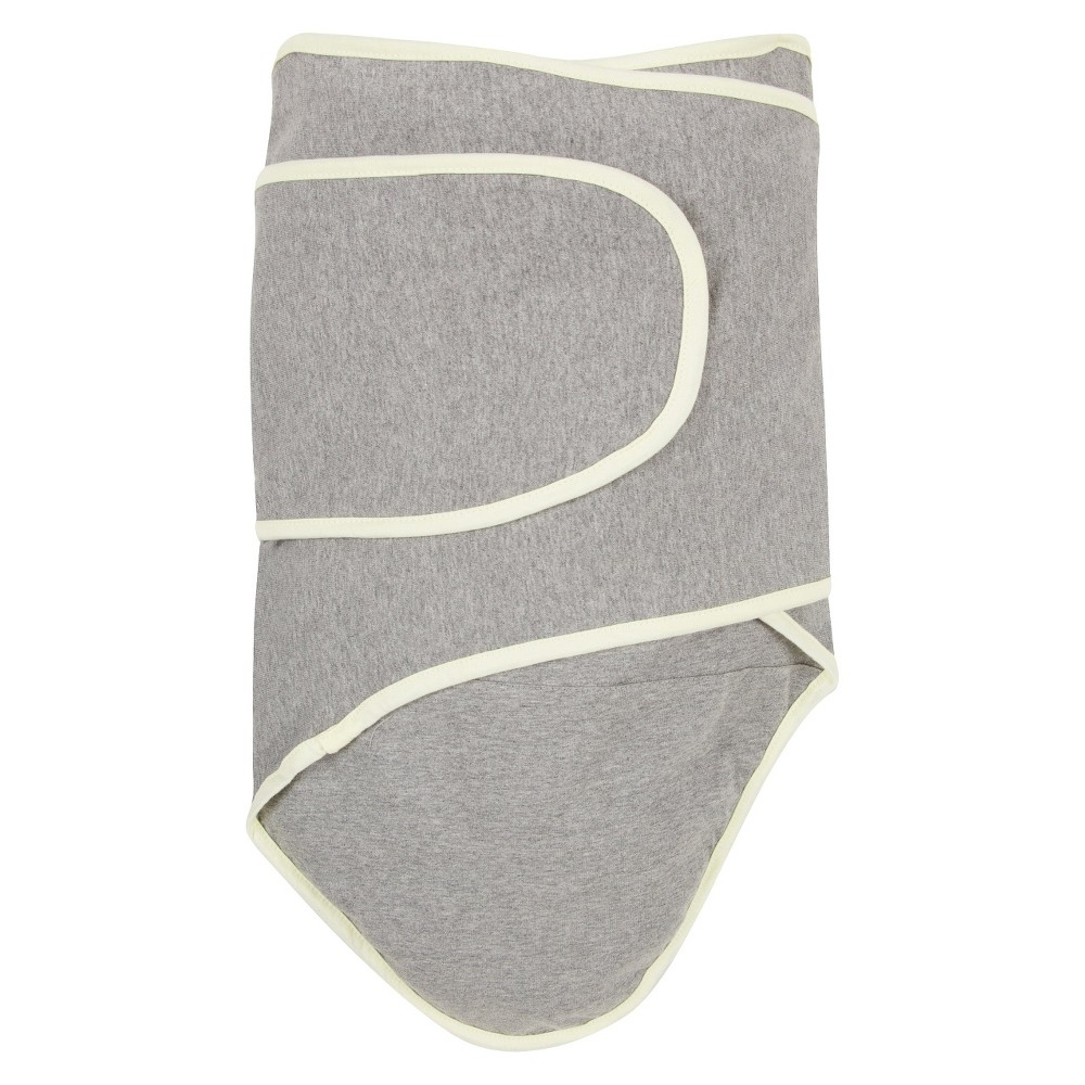 Image of Miracle Blanket Solid Print with Trim Baby Swaddle - Cloud Gray/Pastel Yellow, Gray Yellow