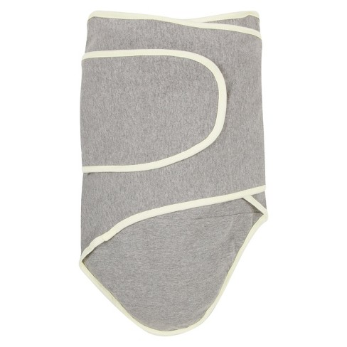 Miracle Blanket Solid Print with Trim Baby Swaddle - Cloud Gray/Pastel Yellow - image 1 of 1