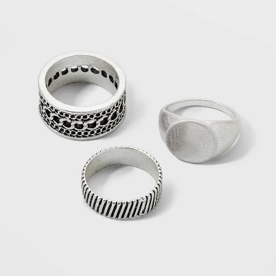 Textured Ring Set 3pc - Universal Thread™ Dark Silver