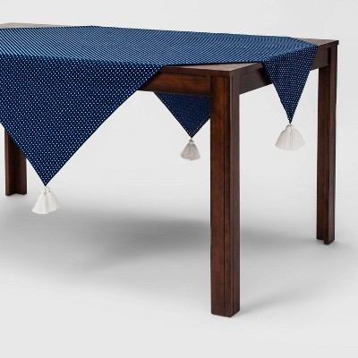 52 X52  Tassel Dotted Tablecloth Blue/White - Opalhouse™