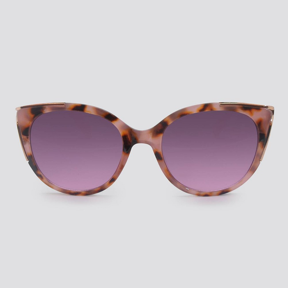 Image of Animal Print Cateye Plastic Metal Combo Sunglasses - A New Day Pink, Women's, Grey/Pink