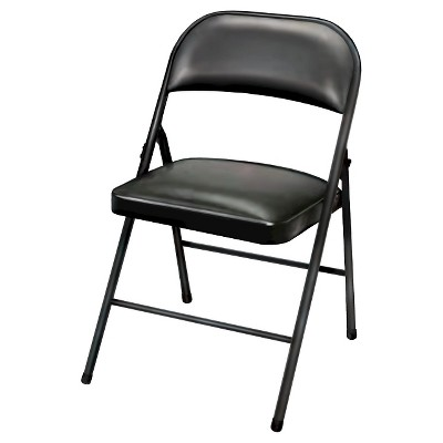 Vinyl Padded Folding Chair Black 4 Pack - Plastic Dev Group®