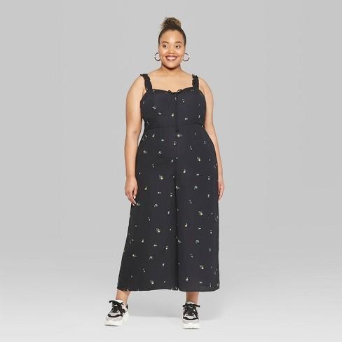 85d989ecaff Women s Plus Size Floral Print Strappy Bra Cup Jumpsuit - Wild Fable™ Black    Target