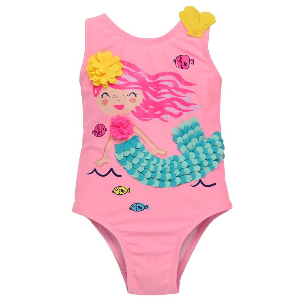 Wetsuit Club Baby Girls' Mermaid One Piece Swimsuit - Pink 18M