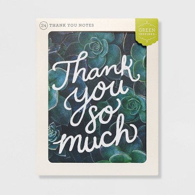 Green Inspired 24ct Succulent Garden Thank You Cards