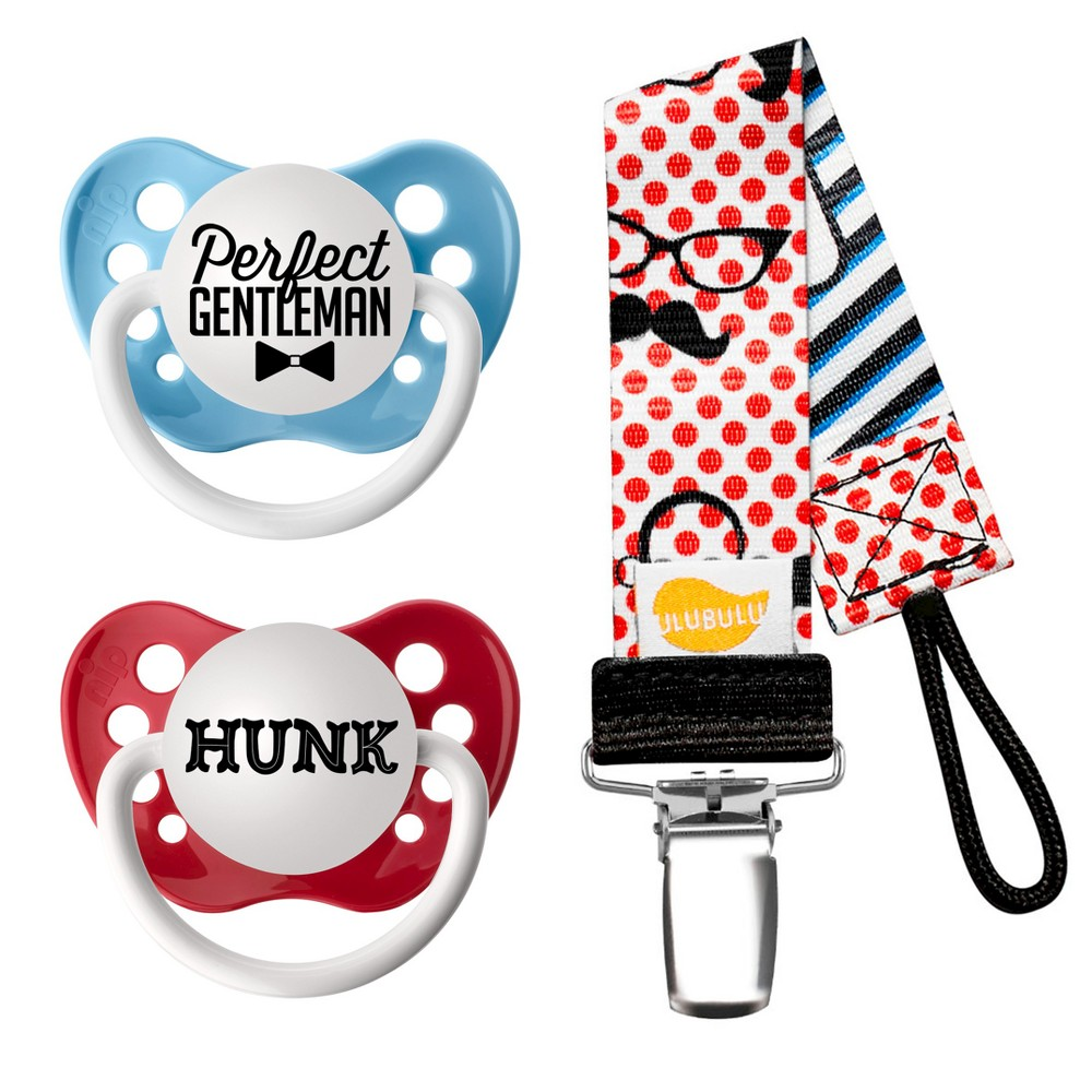 Image of Ulubulu 2pk Pacifiers Perfect Gentleman & Hunk with 1pk Mustache & Glasses Pacifier Clip (0-6 Months)