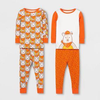 Toddler Boys' 4pc Bear Pajama Set - Cat & Jack™ Orange 5T