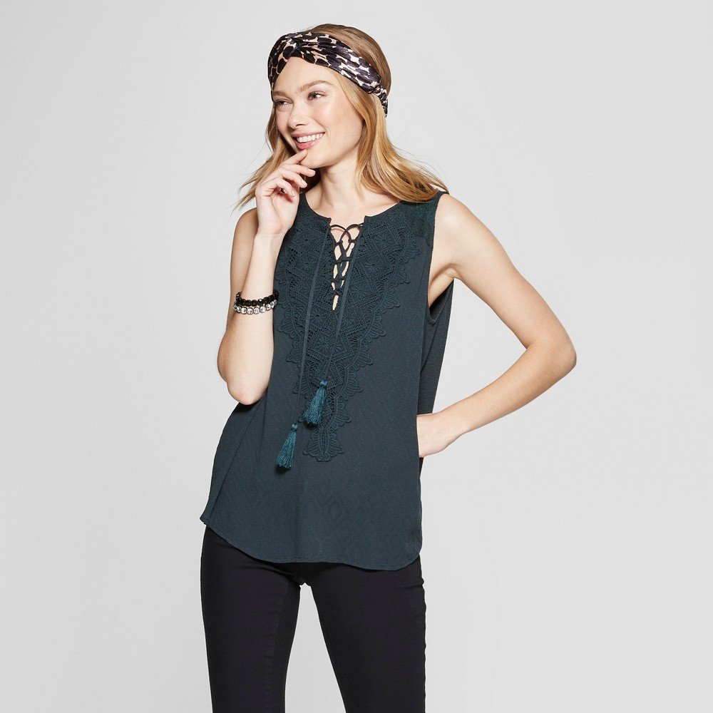 Women's Sleeveless Lace-Up Tank Top - Knox Rose Forest Green XS, Size: XS