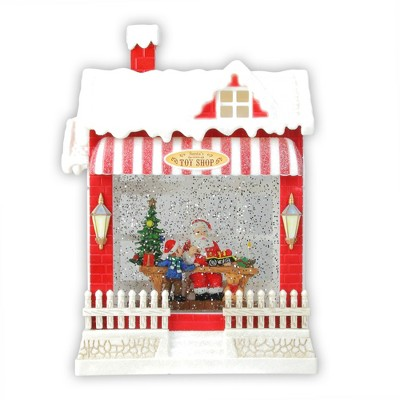 """Raz Imports 10"""" Red and White LED Glittered Santa's Toy Shop Building Christmas Tabletop Decor"""