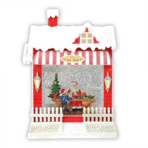 """Raz Imports 10"""" Red and White LED Glittered Santa's Toy Shop Building Christmas Tabletop Decor - image 1 of 3"""