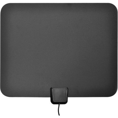 Ematic HDTV Antenna & Amplifier - Upto 50 Mile - 174 MHz, 470 MHz to 240 MHz, 860 MHz - 25 dBi - Indoor, HDTV Antenna - Black - Adhesive/Wall