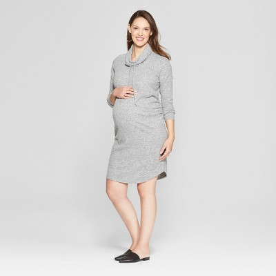 Maternity Cowl Neck Sweatshirt Dress - Isabel Maternity by Ingrid & Isabel™ Heather Gray S