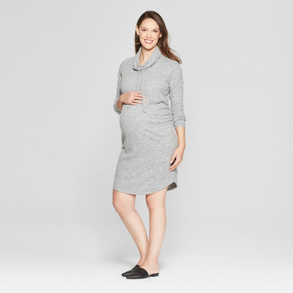 Maternity Cowl Neck Sweatshirt Dress - Isabel Maternity by Ingrid & Isabel Heather Gray XS, Women's