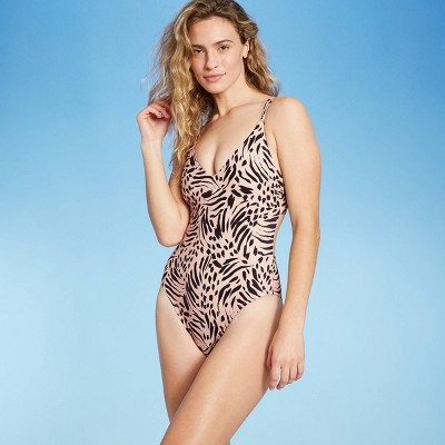 Women's Tall/Long Torso Double Strap Tie Back Monokini One Piece Swimsuit - Shade & Shore™ Tan Animal Print