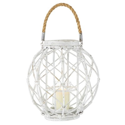 "15"" x 15"" Woven Rattan/Glass Lantern with Burlap Jute Rope Handle White - Olivia & May"