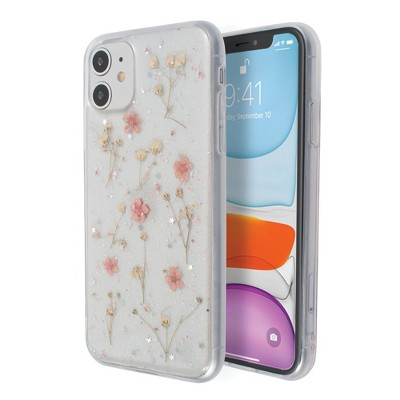 Insten Floral Case For iPhone, Glitter Small Pressed Dried Real Flowers Soft TPU Cover