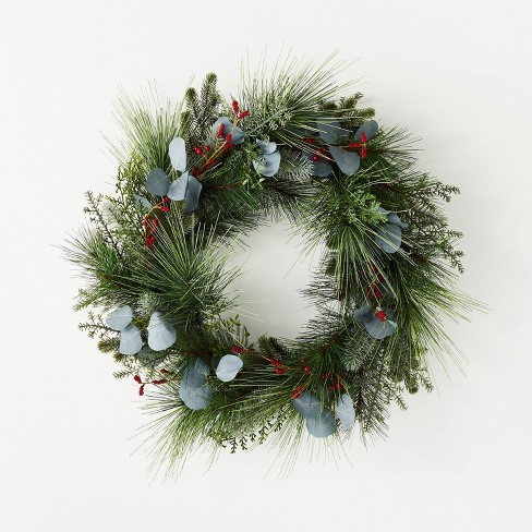 "26"" Red Berries Pine Eucalyptus Wreath - Threshold™ designed with Studio McGee - image 1 of 4"