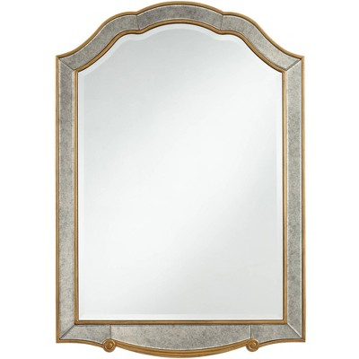"""Noble Park Cavella Antique Gold 28"""" x 40"""" Crowned Top Wall Mirror"""
