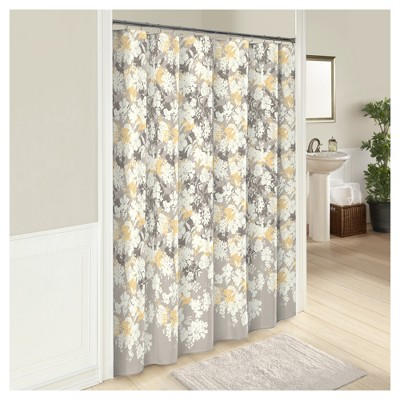 Garden Party Flower Shower Curtain Gray/Yellow - Marble Hill®