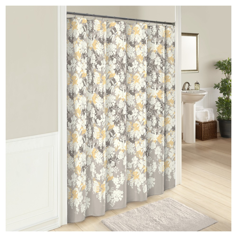 Image of Garden Party Flower Shower Curtain Gray/Yellow - Marble Hill, Multi-Colored
