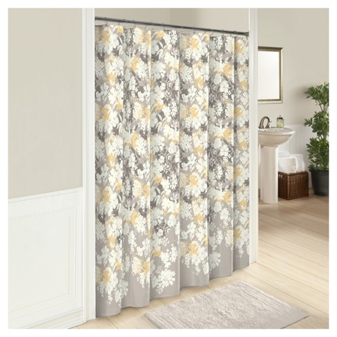 Garden Party Flower Shower Curtain Gray Yellow