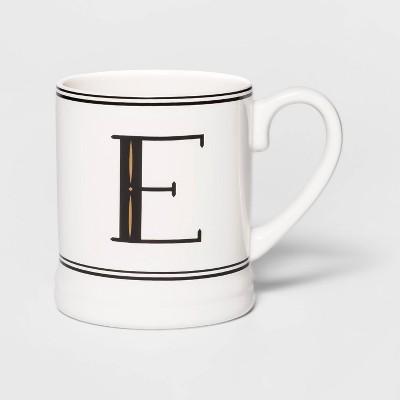 16oz Stoneware Monogram Mug Cream E - Threshold™