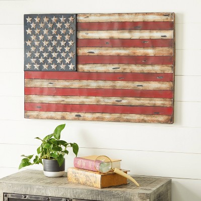 Metal Vintage Rectangular American Flag Wall Decor - Olivia & May