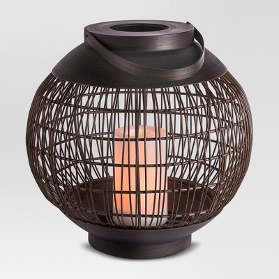 Outdoor Vertical Lantern with Candle Rattan Weave Large - Threshold™