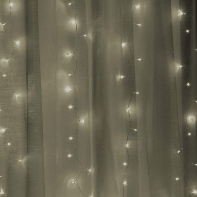Productworks 16975 Warm White 300 Led Lights With 2 Sheer Curtain Panels