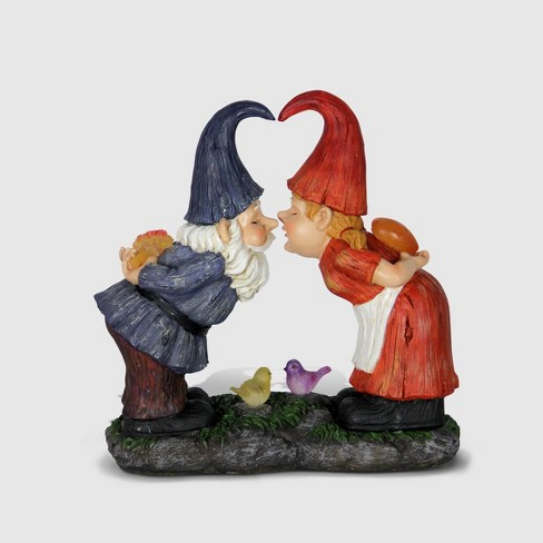"""14"""" Resin Solar Kissing Gnome Garden Statue Blue & Red - Exhart - image 1 of 2"""