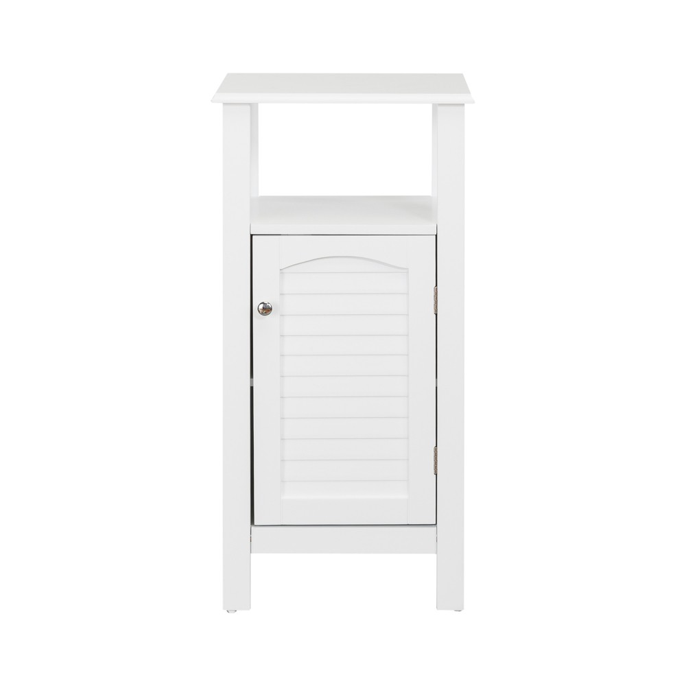 Image of Lombard Shutter Style Door and Open Shelving Bath Vanity Cabinet White - Elegant Home Fashions