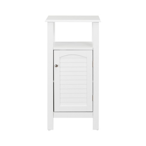 Lombard Shutter Style Door and Open Shelving Bath Vanity Cabinet White - Elegant Home Fashions - image 1 of 4